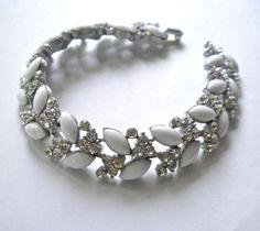 Vintage Milk Glass & Rhinestones Bracelet by by JoolsForYou, $28.00