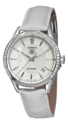 TAG Heuer Women's WV2212.FC6264 Carrera Mother-Of-Pearl Dial Diamond Watch, (watches, tag, aquaracer, tag heuer, carrera, heuer, carrear, womens diamond watches, jewelery watch)