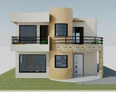 Two Story House Design, 2 Storey House Design, Duplex House Design, Unique House Design, House Design Photos, House Front Design, Style At Home, Bungalow Haus Design, Model House Plan