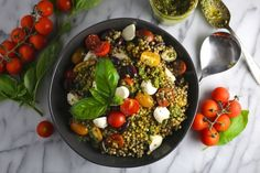 Pesto Couscous Salad with Mozzarella and Tomatoes