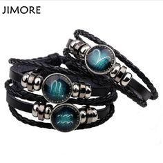 [JIMORE] Handmade Constellation Bracelet Braided Genuine Leather 12 Zodiac Bracelet Women Lace-up Vintage Men's Charm Bracelets #Affiliate