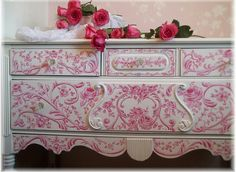 French rose painted toile buffet