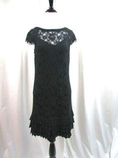 Jessica Simpson Black Lace Ruffle Cocktail Party Dress Size 4 Excellent #JessicaSimpson #Cocktail
