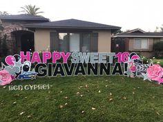 Happy Birthday Yard Signs, Sweet 16 Birthday, 16th Birthday, Birthday Ideas, Birthday Parties, Yard Party, Card Ideas, Gift Ideas, Sweet 16 Parties
