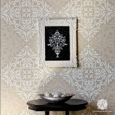 Pochoir mural Anastasia Damask Tile Allover Damask Wall Stencil for Painting – Decorate your Walls with Tile Stencils from Royal Design Studio Damask Wall Stencils, Moroccan Wall Stencils, Large Wall Stencil, Stencil Painting On Walls, Tile Stencils, Stenciling, Painted Floors, Painted Furniture, Furniture Stencil