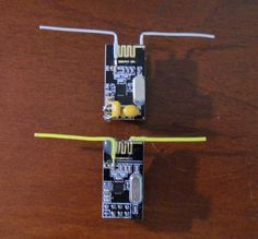 Enhanced NRF24L01 radio with a DIY Dipole Antenna modification.