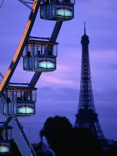 the paris ferris wheel and eiffel tower, paris, ile-de-france, france