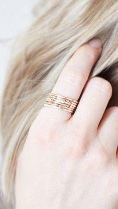 stacking rings rose gold silver