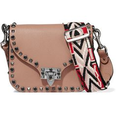 Valentino Guitar Rockstud Rolling embellished textured-leather shoulder bag