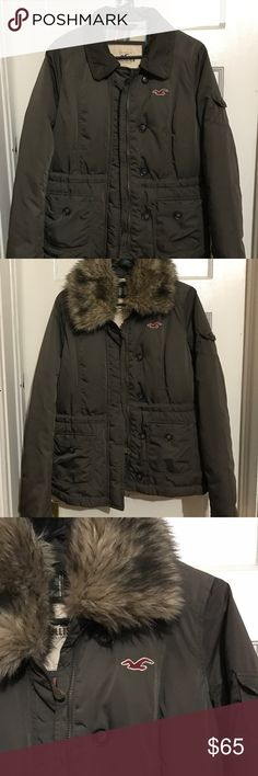 Hollister Coat Olive  green Hollister coat. Can detach the fur if needed. I used this jacket only a few times. Looks brand new! Send me offers (: Hollister Jackets & Coats Puffers
