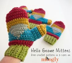 Hello Gnome Mittens! Free crochet pattern on Mooglyblog.com, in 3 sizes! for Crochet Mitten Drive CAL ༺✿ƬⱤღ✿༻