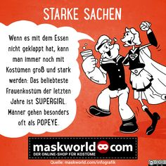 Starke Sachen - Infografik von maskworld.com #infografik #funfacts #karneval #fastnacht #fassenacht #fasching #popeye #supergirl