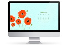 Add some fresh picked poppy flowers to your computer, phone or tablet with this free April 2016 calendar wallpaper. by Sarah Hearts