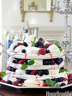 Summer Berry Pavlova with Bourbon Whipped Cream