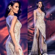 The absolutely gorgeous Catriona Gray wearing her incredible evening gown created by this look is already top-notch styling for an international pageant she looks amazing and the details and embellishments of this piece are just exquisite! Miss Universe Dresses, Debut Gowns, Alena Shishkova, Grey Gown, Grey Fashion, Fashion Design, Beauty Pageant, Pageant Dresses, Beautiful Gowns
