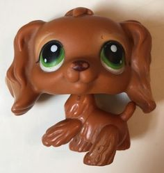 Littlest Pet Shop 252 Brown Cocker Spaniel Puppy Dog Green Eyes LPS | eBay