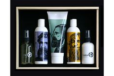 An armamentarium of beard enhancers — light, subtly spiced beard oil; cantaloupe- and wild-berry-flavored shampoos that smell good enough to eat; smoothing conditioner; and cooling, bay-rum-scented lotion — stowed in a pine box with sliding lid.  Beardsley Gift Box, $69.95, available at Beard Shampoo.