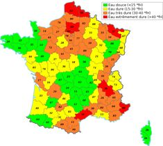 Dureté de l'eau en France http://www.blogdomotelec.fr/general/dossier-le-traitement-de-leau-potable/
