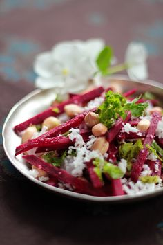 Raw Beet Salad with Peanuts and Coconut - the best Vegan Raw beet salad ever!