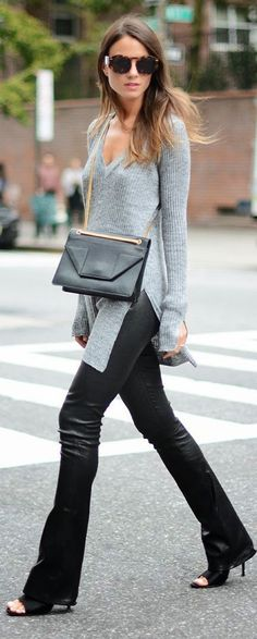 Spring street style | Leather pants grey shirt ...need those pants