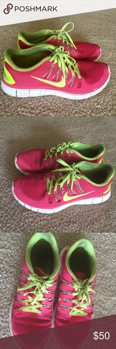 Highlighter Pink and Green Nike Free Runs Gently used, a little scuffed up, but otherwise in excellent condition Nike Shoes Sneakers