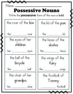 Possessive Nouns Cut and Pastes | Possessive nouns, Common core ...