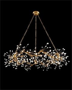 Waving Twelve-Light Quartz Pendant X A twelve-light pendant in a gold-leaf finish with waving boughs of luminous quartz crystals. 12 Type Halogen Bulbs, Canopy: Chain: Three pieces of Branch Chandelier, Modern Chandelier, Chandelier Lighting, Chandelier Bedroom, Iron Chandeliers, Room Lights, Ceiling Lights, Wc Set, Led Band