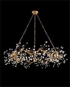 Waving Twelve-Light Quartz Pendant X A twelve-light pendant in a gold-leaf finish with waving boughs of luminous quartz crystals. 12 Type Halogen Bulbs, Canopy: Chain: Three pieces of Branch Chandelier, Modern Chandelier, Chandelier Lighting, Chandelier Bedroom, Iron Chandeliers, Dining Room Lighting, Home Lighting, Lighting Design, Lighting Ideas