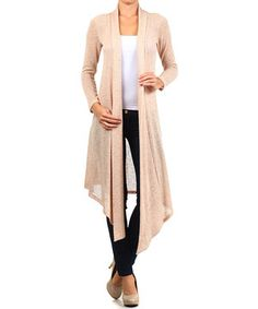 a13a95e563 Loving this Peach Long-Sleeve Shawl Collar Open Cardigan on  zulily!   zulilyfinds