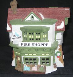 """Dickens Village """"The Mermaid Fish Shoppe"""" by Department 56 1988. $14.95, via Etsy."""