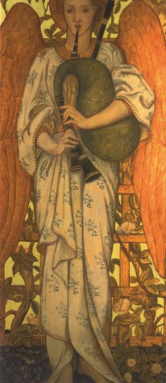 Bagpipe Paintings - Angel With Bagpipes by John Roddam Spencer Stanhope
