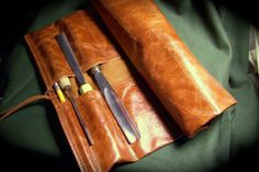 Extra Large Cognac Leather Tool Roll for by HbarNCraftworks, $80.00