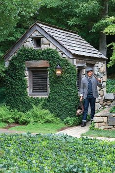cottage / shed Want one of these too. The shed, but the gardener is kinda cute:) Stone Cottages, Cabins And Cottages, Stone Houses, Garden Buildings, Garden Structures, Garden Cottage, Home And Garden, Cute Cottage, Irish Cottage