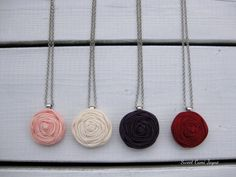Rosette Pendant Necklace Fabric Rosette Necklace by SweetCamiJayne
