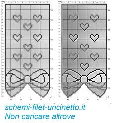 Curtain with bow and hearts filet patten Crochet Bow Pattern, Free Crochet Doily Patterns, Filet Crochet Charts, Crochet Cape, Crochet Bows, Crochet Curtains, Crochet Doilies, Cross Stitch, Knitting