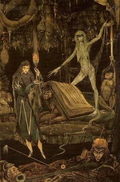 """books0977: """" Creatures reading. Illustration by Harry Clarke. From Faust by Johann Wolfgang von Goethe. New York: Dingwall Rock Limited, n.d. [1925]. """"FAUST This nonsense, so like meaning, splits My skull. I soon would lose my wits: Methinks, a..."""