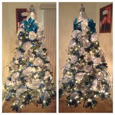 White deco mesh tree with blue ribbon. decorated with silver and blue poinsettias, small blue poinsettia picks with blue gem tree branches.