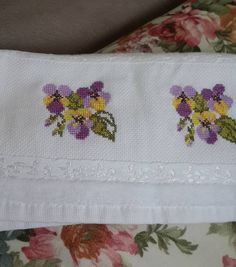 Needlework, Diy And Crafts, Cross Stitch, Vintage, Embroidered Towels, Letters With Flowers, Floral Letters, Perfect Love, Cross Stitch Embroidery