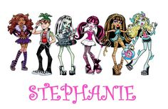 Great   Monster High Personalzied with your name   t-shirt fabric IRON ON transfer. $2.99, via Etsy.