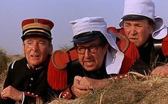 Kenneth Williams, Phil Silvers and Peter Butterworth in Carry On Follow That Camel. Camber Sands became the Sahara desert for this film.