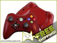 Red Evil Vision Xbox 360 Controller - Rechargeable Wireless 360 Controller
