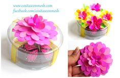 Crea increíbles envoltorios para tus regalos a partir de estas flores DIY de papel.