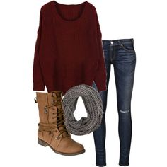 jeans boots scarf knits