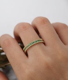 Emerald wedding band yellow gold women Unique full eternity Antique Stacking ring milgrain Brid wedding bands Emerald wedding band yellow gold women Unique full eternity Antique Stacking ring milgrain Bridal Jewelry Anniversary Gift for her Emerald Band, Green Emerald Ring, Emerald Green Weddings, Emerald Cut, Pearl Wedding Bands, Emerald Wedding Bands, Gold Wedding, Anniversary Gift For Her, 50th Anniversary