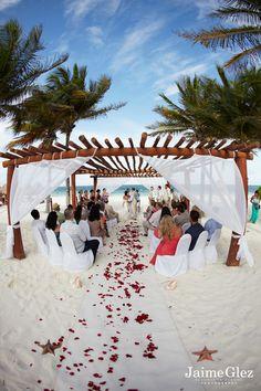 ♥ seaside ceremony for destination wedding in mexico, at the excellence riviera cancun. #destinationwedding #rivieramaya www.jaimeglez.com