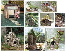 Fairy house examples - book and website recommendations - (see projects, twigs, and porch boards) #fairy #house #inspiration #miniature #twig #stone #rock #birdhouse #bird #nest #crafts #whimsy #whimsical #garden #gardening - tå√