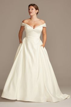 Off Shoulder Satin Gown Plus Size Wedding Dress Style Ivory, . Off Shoulder Satin Gown Plus Size Wedding Dress Style Ivory, size wedding dresses davids bridal. Plus Size Wedding Gowns, Dream Wedding Dresses, Gown Wedding, Davids Bridal Plus Size, Ivory Wedding, Timeless Wedding Dresses, David Bridal Wedding Dresses, Wedding Dresses Second Marriage, Different Wedding Dress Styles