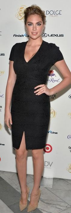 Who made Kate Upton's short sleeve black dress and nude suede pumps that she wore in Miami on February 20, 2014?