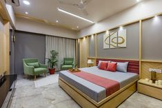 The parents' room is simple, soothing and elegant, with simple yet timeless Indian Bedroom Design, Modern Bedroom Design, Office Interior Design, Bed Design, Bedroom Designs, Tower Design, Gold Interior, Interior Ideas, Living Room Tv Unit Designs
