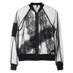 TopShop Sheer Lace Bomber Jacket (7.330 RUB) ❤ liked on Polyvore featuring outerwear, jackets, tops, transparent bomber jacket, flight jackets, bomber style jacket, transparent camisole and topshop jackets